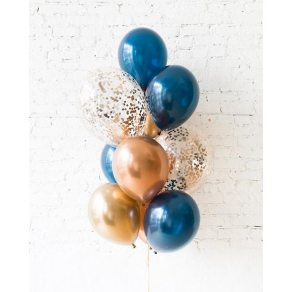 Blue Aurette - Confetti and 11in Balloons - bouquet of 10