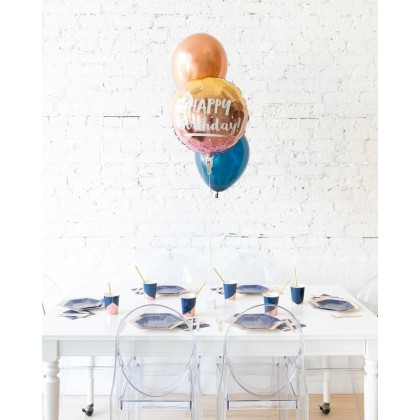 Blue Aurette - Happy Birthday Foil and 11in Balloons Centerpiece - bouquet of 3