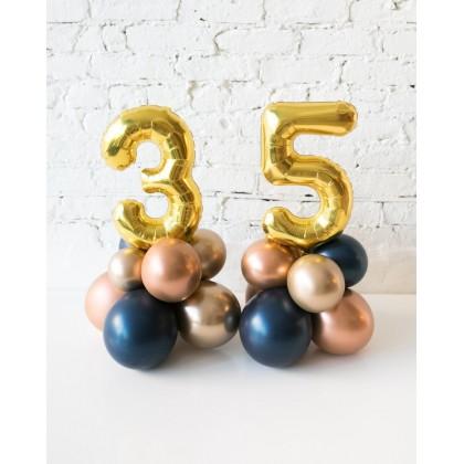 Blue Aurette - Tabletop Foil Number on Balloon Base - 1.5FT