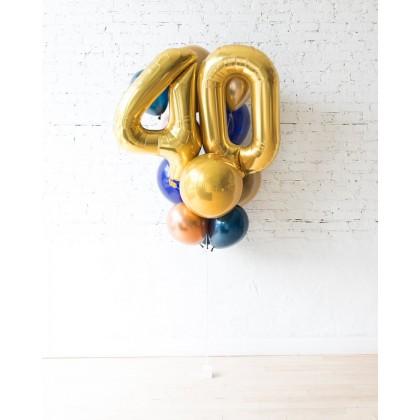 Blue Aurette - Double-Digit Foil and Latex Balloon - bouquet of 13