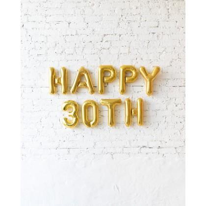 Blue Aurette 16in Gold Happy Number Birthday Foil Balloon Set