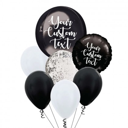 Personalised Black Orbz And Latex Balloon Bouquet