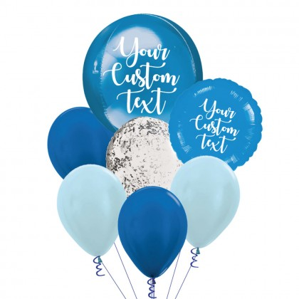 Personalised Blue Orbz And Latex Balloon Bouquet