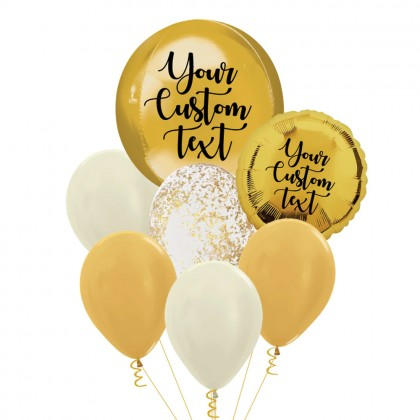 Personalised Gold Orbz And Latex Balloon Bouquet
