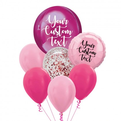 Personalised Hot Pink Orbz And Latex Balloon Bouquet