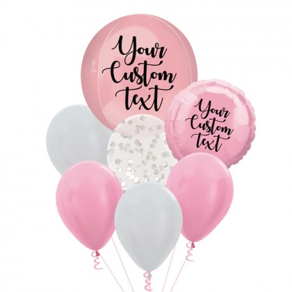 Personalised Light Pink Orbz And Latex Balloon Bouquet