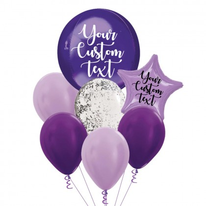 Personalised Purple Orbz And Latex Balloon Bouquet