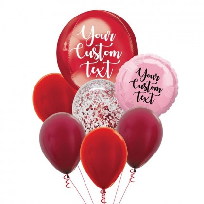 Personalised Red Orbz And Latex Balloon Bouquet