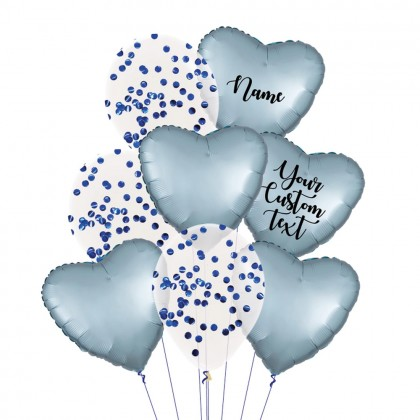 Personalised Steel Blue Satin Luxe And Confetti Balloon Bouquet