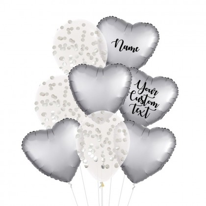 Personalised Platinum Satin Luxe And Confetti Balloon Bouquet