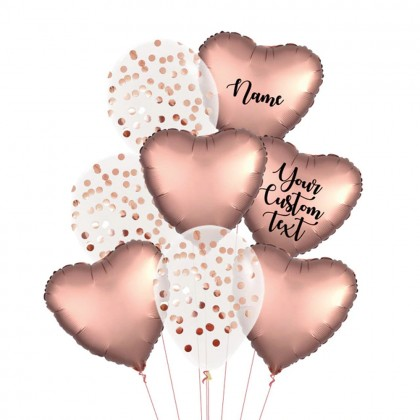 Personalised Rose Copper Satin Luxe And Confetti Balloon Bouquet