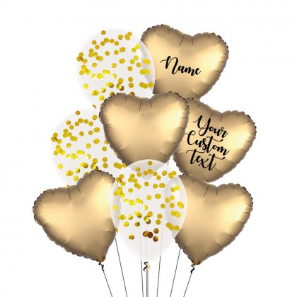 Personalised Sateen Gold Satin Luxe And Confetti Balloon Bouquet