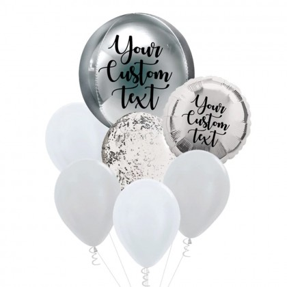 Personalised Silver Orbz And Latex Balloon Bouquet