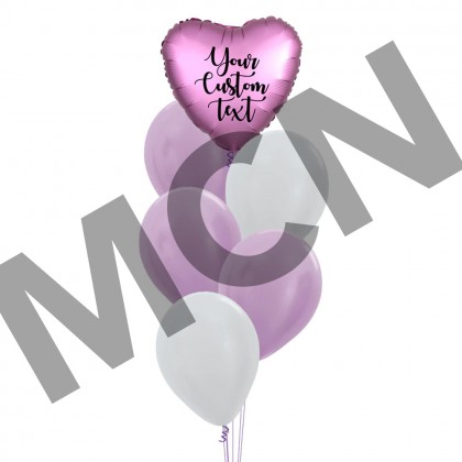 Personalised Heart Foil With Macaron Latex Balloons Bouquet