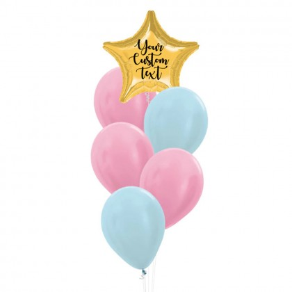 Personalised Star Foil With Metallic Latex Balloons Bouquet