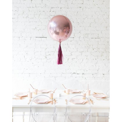 Red Culture 16in Rose Gold Orb Foil Balloon with Burgundy Skirt Centerpiece