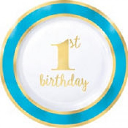 "1st Birthday Boy-Gold Metallic Round Plates 7"""