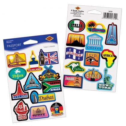 Around The World Passport Stickers