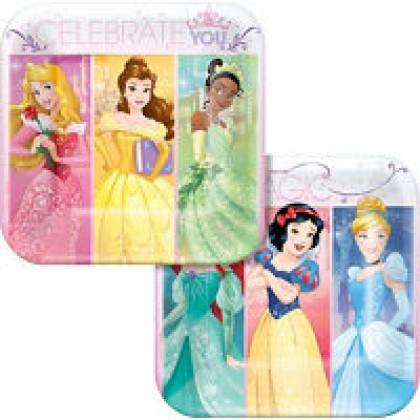 """Disney Princess Dream Big Square Plates, 7"""""""