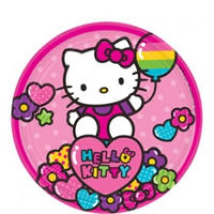 Hello Kitty Rainbow Round Plates 7 in
