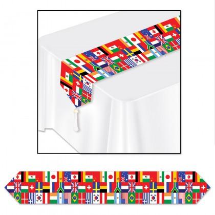 International Flag Printed Table Runner