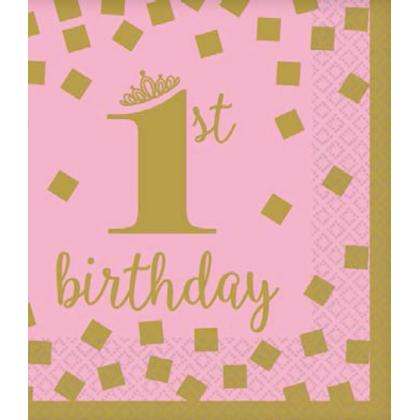 1st Birthday Girl-Gold Beverage Napkins
