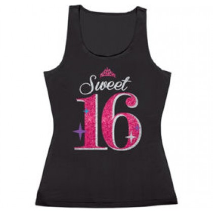 Sweet Sixteen Celebration Tank Top - Fabric w/Glitter