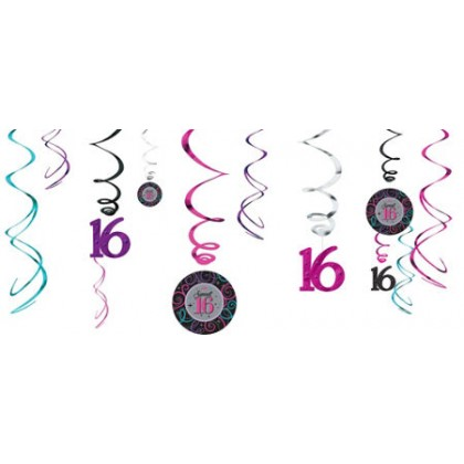 Sweet Sixteen Celebration Value Pack Foil Swirl Decorations