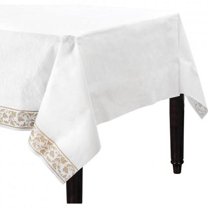 Elegant Scroll Gold Paper Table Cover