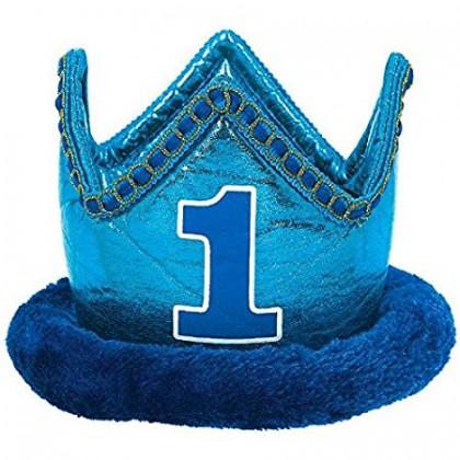 1st Birthday Boy Novelty Crown - Fabric w/Plush