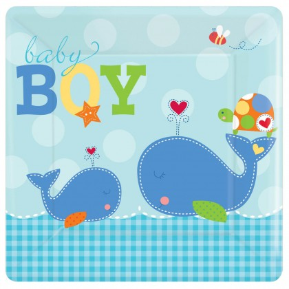"Ahoy Baby 10 1/4"" Square Plate"