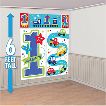 All Aboard Boy Scene Setters® Wall Decorating Kit - Plastic