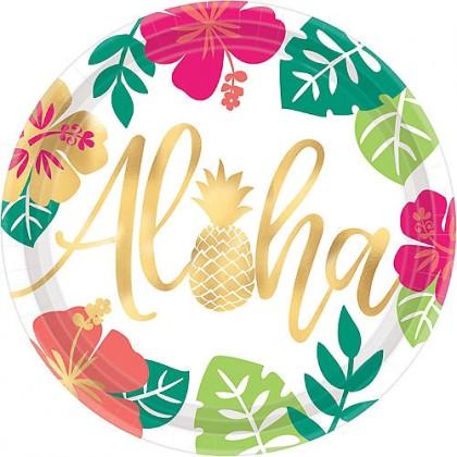 "You Had Me At Aloha Round Metallic Plates, 10 1/2"""