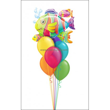 TROPICAL CENTERPIECE - FISH CLUSTER (7 Balloons)