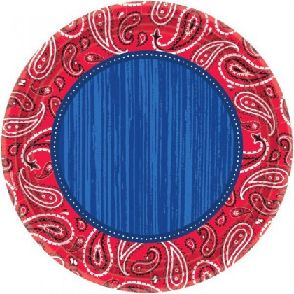 "Bandana & Blue Jeans Round Plates, 10 1/2"""