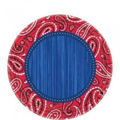 "Bandana & Blue Jeans Round Plates, 7"""