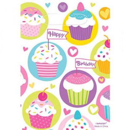 Cupcake Party Folded Loot Bags - Plastic