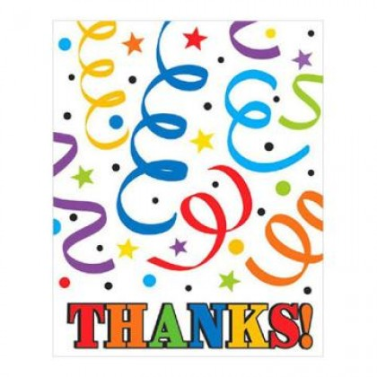 Colorful Birthday Postcard Thank You Cards