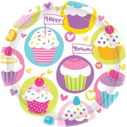 """Cupcake Party Round Plates, 7"""""""