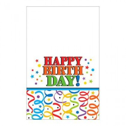 Colorful Birthday Plastic Table Cover