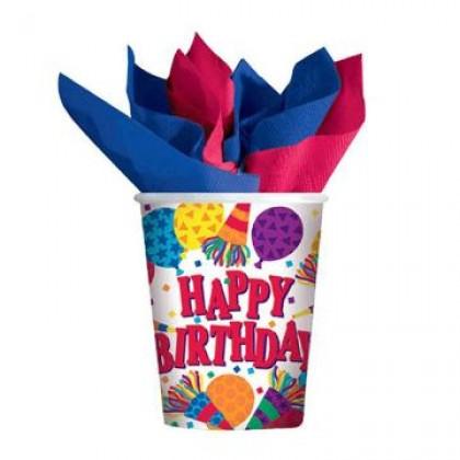 Birthday Horns Cups, 9 oz.