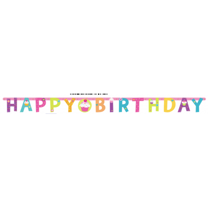Cupcake Party Illustrated Paper Letter Banner - Printed Paper