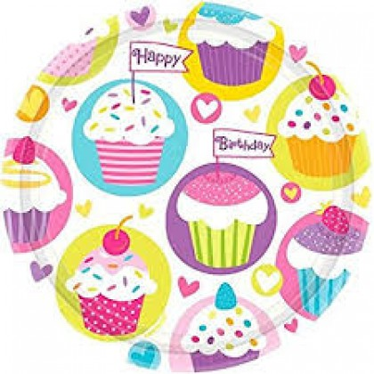 """Cupcake Party Round Plates, 9"""""""