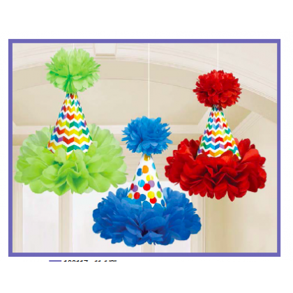 Bright Birthday Cone Hat Fluffy Decorations - Tissue and Printed Paper