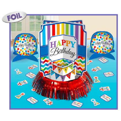 Bright Birthday Table Decorating Kit - Paper w/Foil Fringe