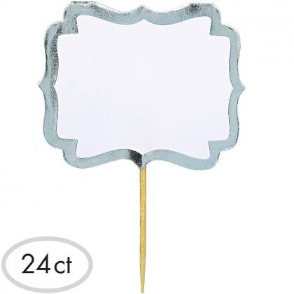 """3 1/2"""" x 2 1/4"""" Label Picks - White w/Silver Border Paper w/Wood Pick"""