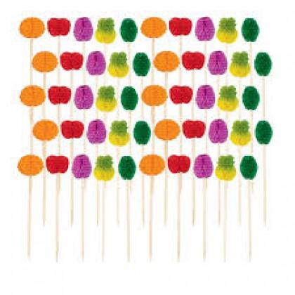 "4"" Fruit Honeycomb Picks Tissue Paper w/Wood Pick"