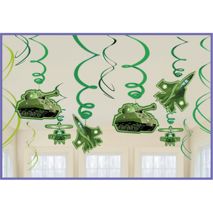 Camouflage Value Pack Hanging Swirl Decorations
