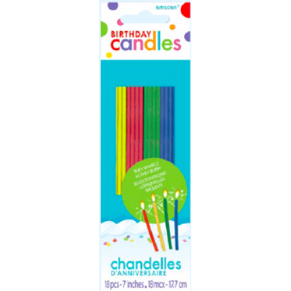 """7"""" Sparkling Thin Birthday Candles Assorted Colors"""