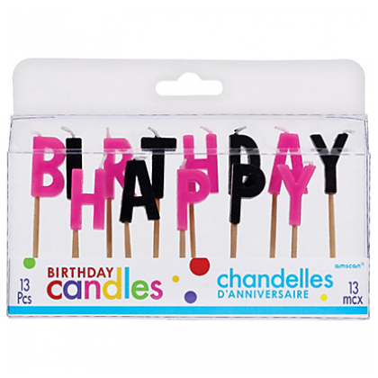 """3"""" Toothpick Candle Sets Happy Birthday Black/Pink"""